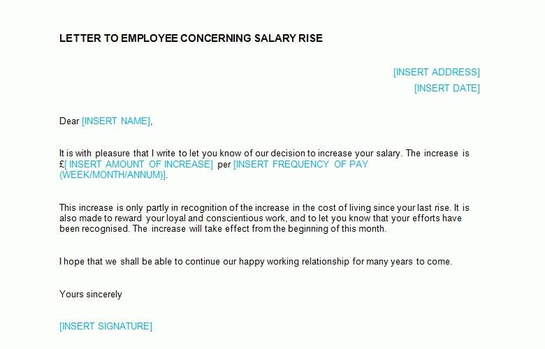 Salary Increase Letter Template From Employer To Employee | The ...