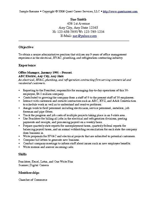 objectives for resumes general Objectives For Resume Examples ...