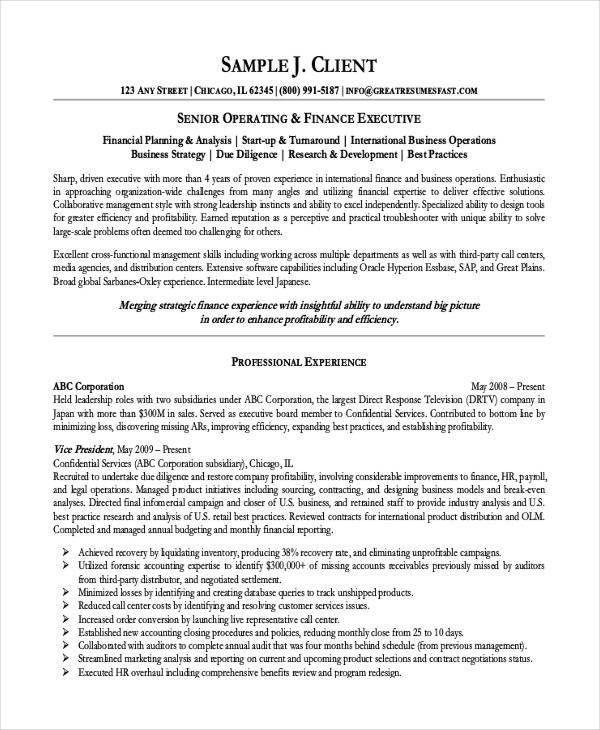 8+ Finance Resume   Free & Premium Templates