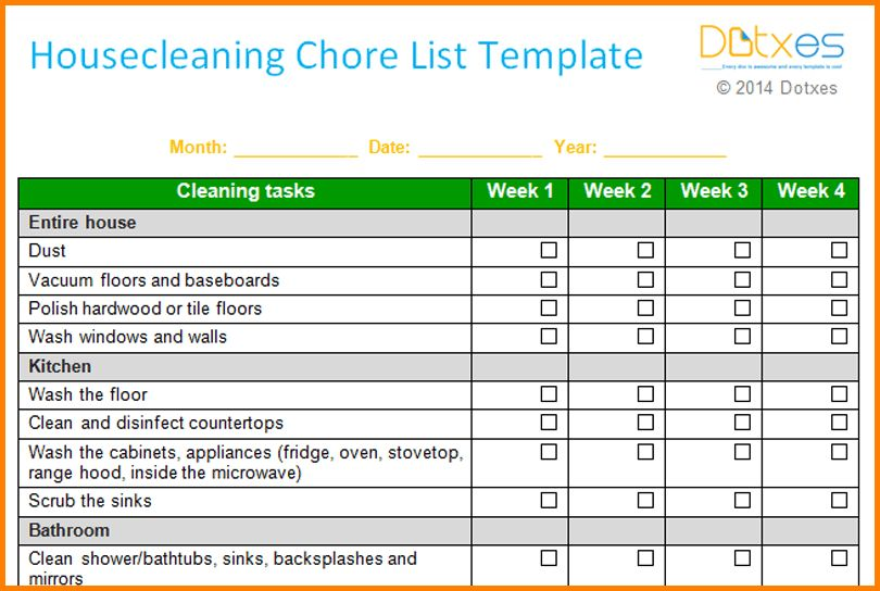 7+ household chore list | Letter Template Word