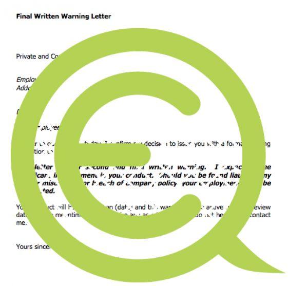 Final Written Warning Letter » EQ Consultants