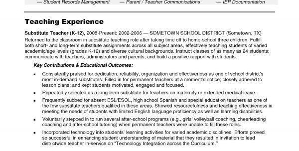 Resume Substitute Teacher Sample. 15 best cover letter images on ...