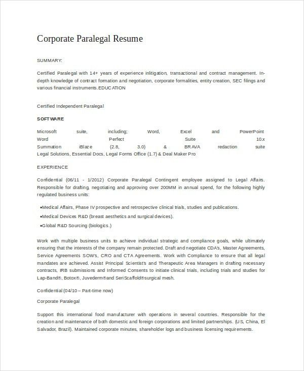 corporate paralegal resume paralegal resume template 7free word
