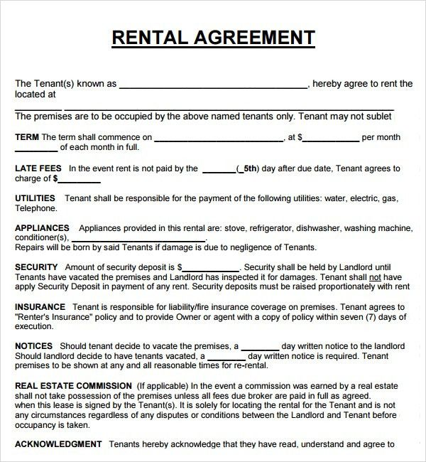 sample rental agreement letter template 8 free documents in rental ...