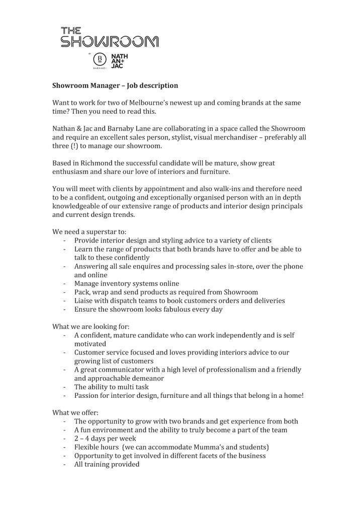 Merchandiser Job Description. Job Description Of A Junior ...