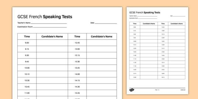 GCSE French Speaking Test Timetable Template - GCSE, Speaking