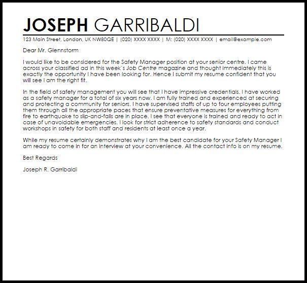 Safety Manager Cover Letter Sample | LiveCareer