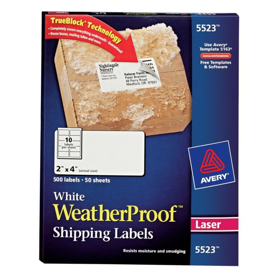 Avery White Weatherproof Laser Shipping Labels 2 x 4 Box Of 500 by ...