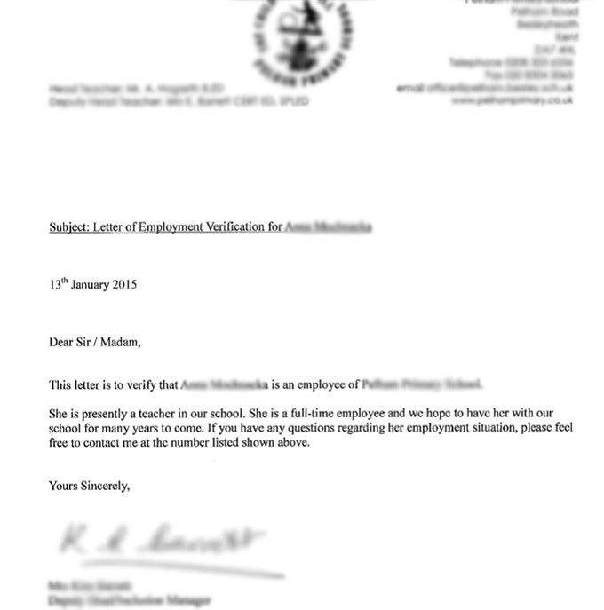Job LetterProof Of Employment. Proof Of Employment Letter Template ...