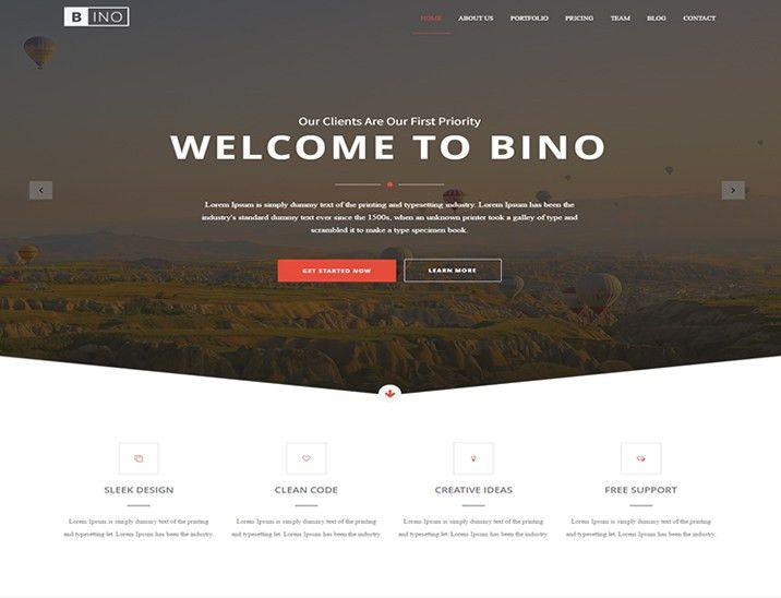 Bino – Free HTML5 Landing Page Template - Designstub