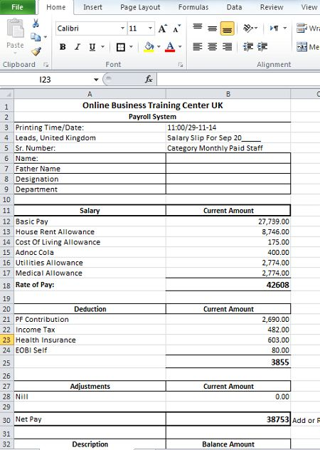 Salary Slip Format in Excel for Download – Top Docx