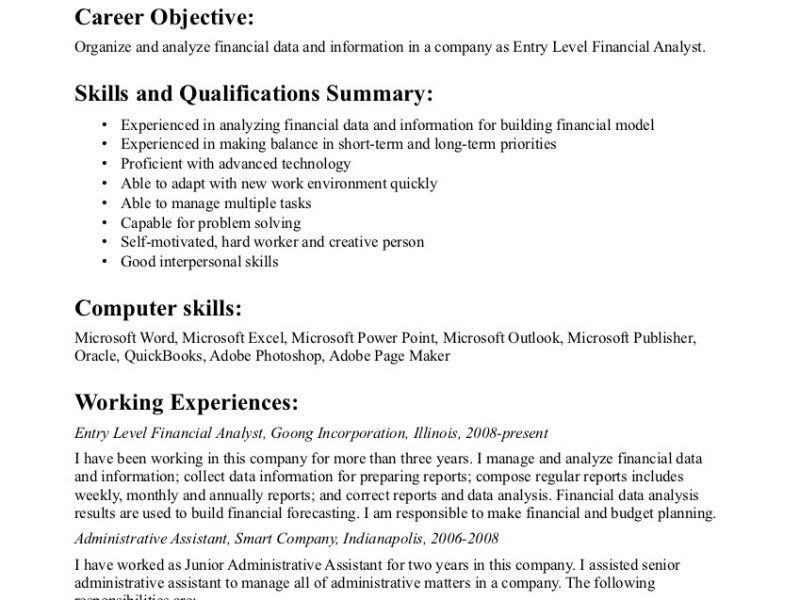 Generic Resume Objective. General Resume Objective For Entry Level ...