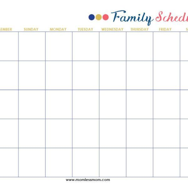 Family Schedule Printable