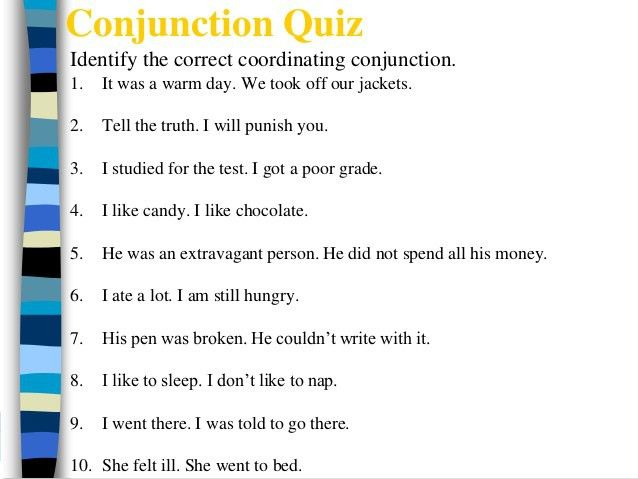 Coordinating Conjunctions (FANBOYS)