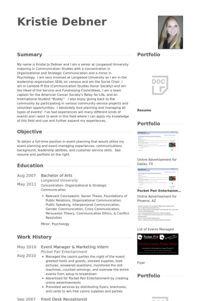 Event Manager Resume samples - VisualCV resume samples database