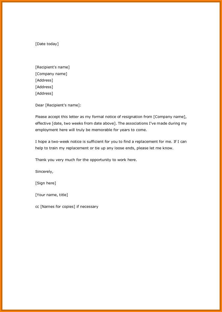 Simple Resign Letter Sample