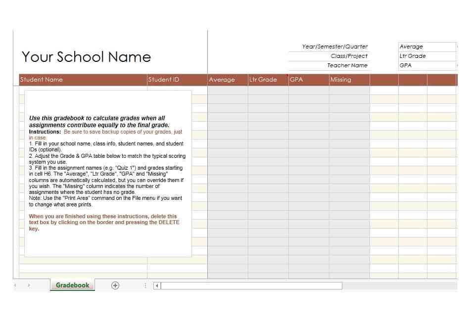 30 Free Gradebook Templates - Template Archive