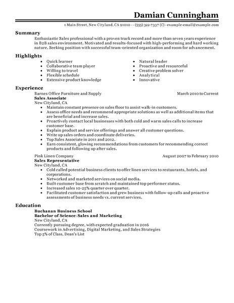sales representative resume sample experience resumes. personal ...