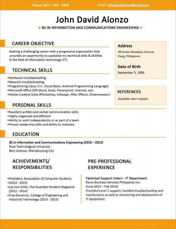 new resume format sample