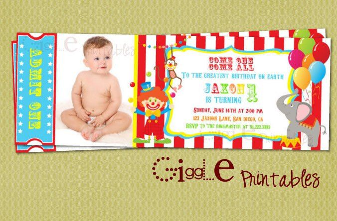 Circus Ticket Invitation FREE thank you card included