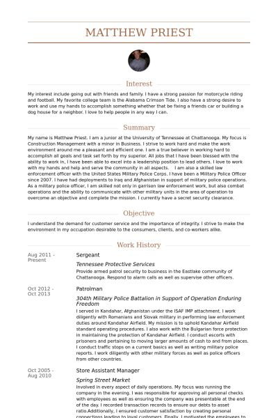 Sergeant Resume samples - VisualCV resume samples database