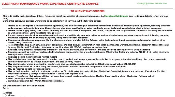 Electrician Maintenance Work Experience Certificate
