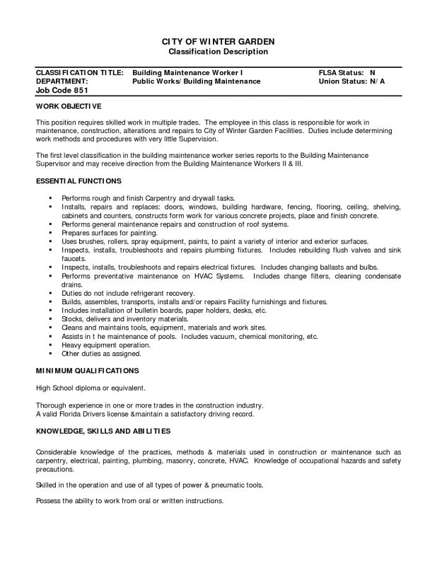 Homey Idea Building Maintenance Resume 5 Building Maintenance ...