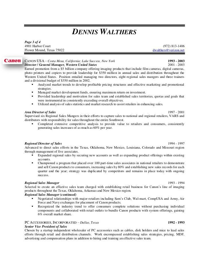 Dennis Walthers, VP Sales, Resume