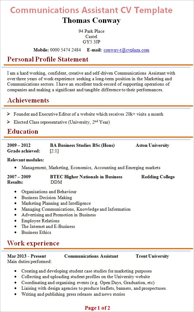 Communications Assistant CV Template + Tips and Download – CV Plaza