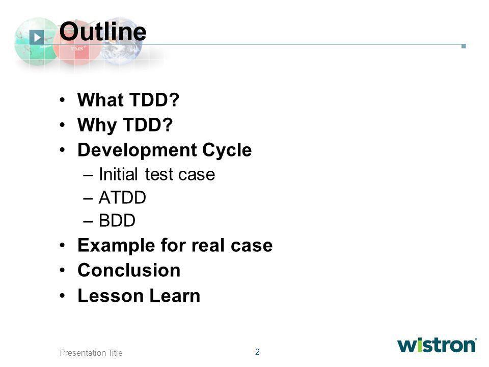 1 Presentation Title Test-driven development (TDD) Overview David ...