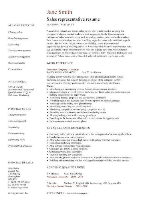 Sales Representative Resume Sample | Experience Resumes