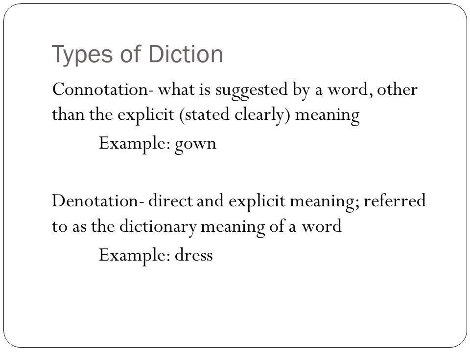 Levels of Diction Diction. Definition: Diction Refers to the ...