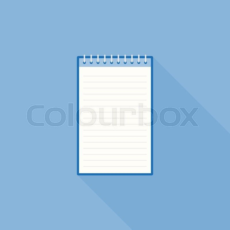 Blank line notebook paper icon template, flat design | Stock ...