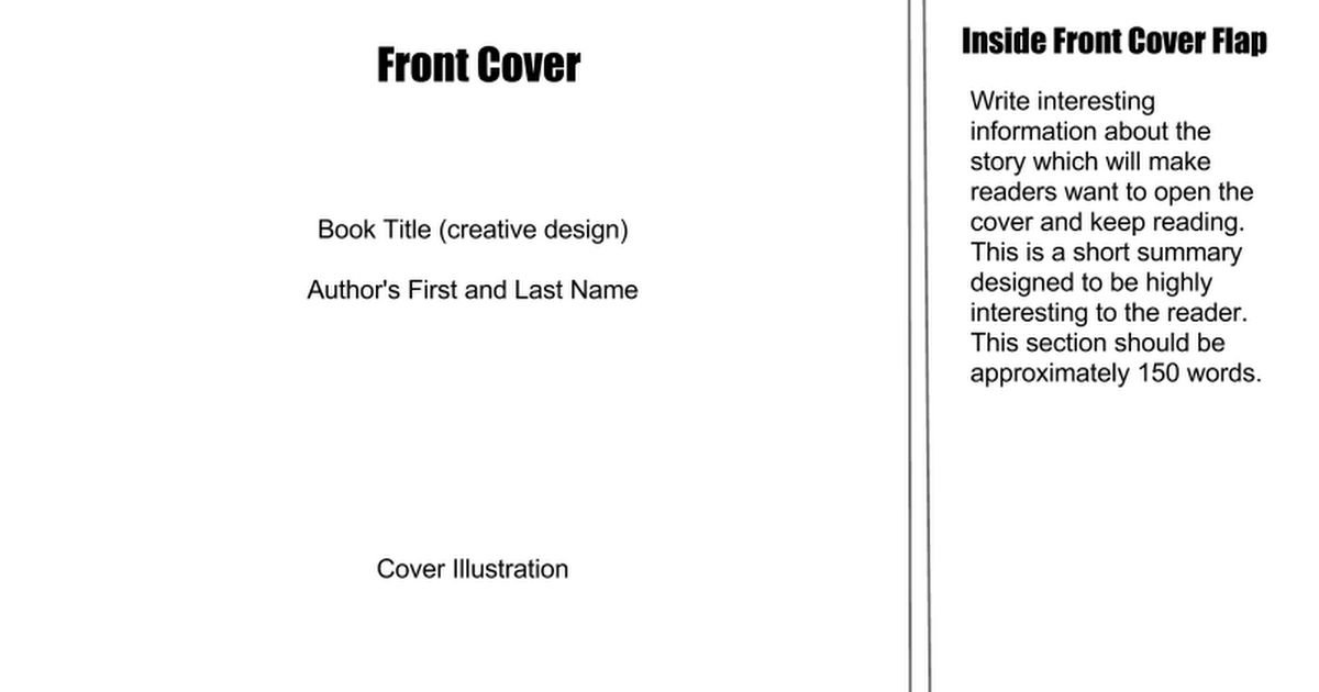 Book Jacket Template - Google Slides