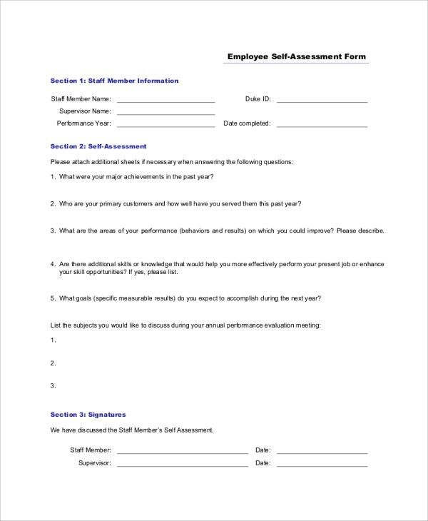 Employee Self Assessments. Employee Self Assessment Form Sample ...