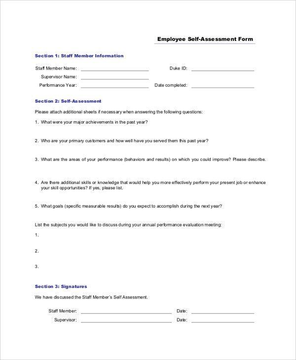 Employee Self Assessments. Employee Self Assessment Form Sample ...