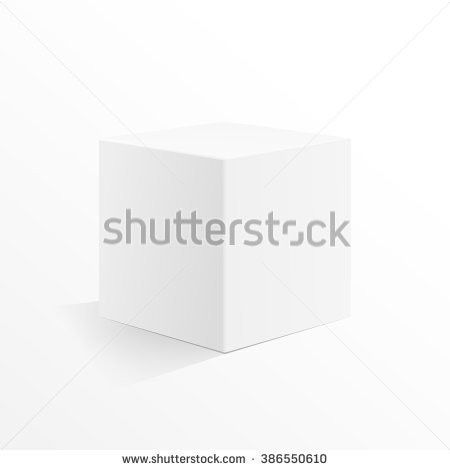 Blank White Carton 3d Box Cube Stock Vector 179603717 - Shutterstock
