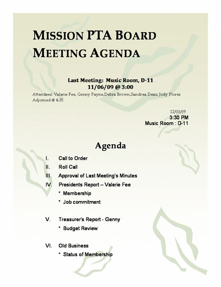 Mission PTA Board Meeting Agenda Template | Agenda Templates ...