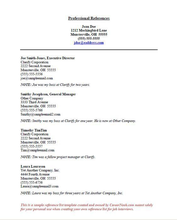 Resume References Sample Page - http://jobresumesample.com/893 ...
