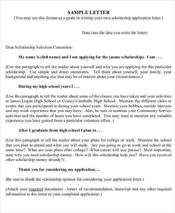how to write a cover letter for a scholarship