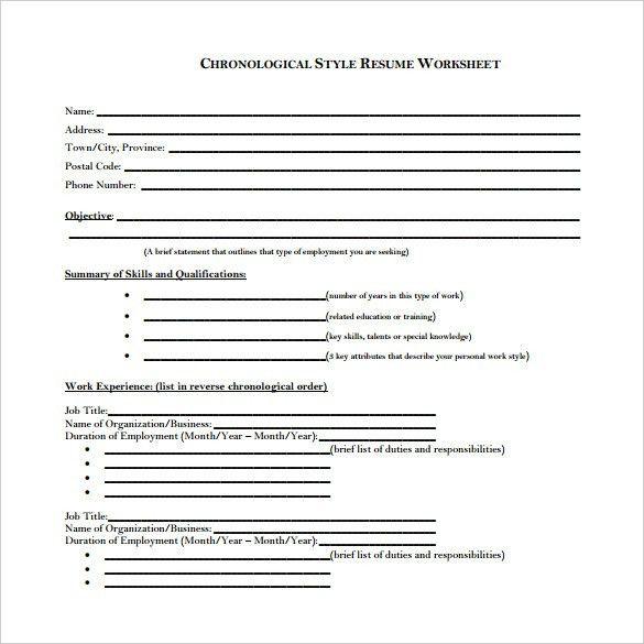 format of chronological resume chronological resume template