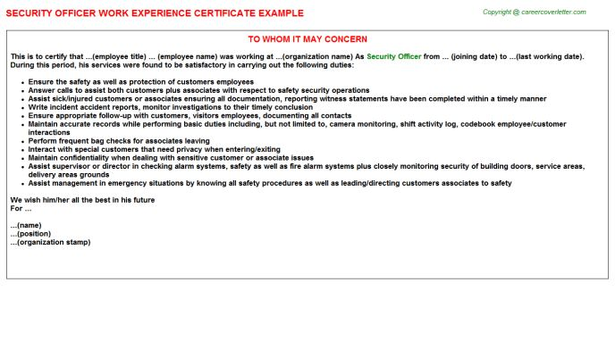 Security Officer Work Experience Letters