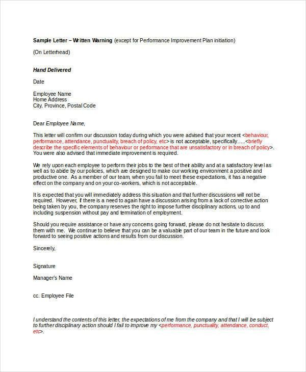 Written warning template written warning template 9 free pdf word employee warning letter template 6 free word pdf format altavistaventures Image collections