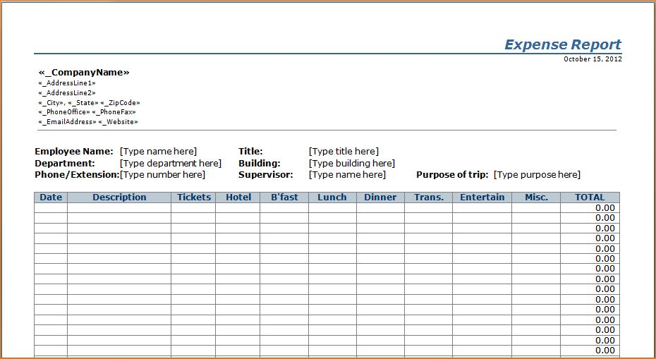 2 excel expense report template | Outline Templates