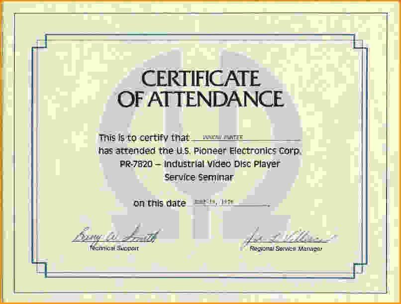 Certificate Of Attendance Template.Perfect Attendance Certificate ...