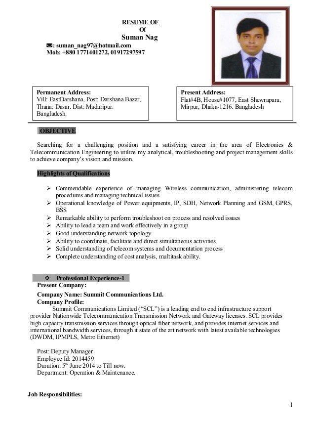 CV of Suman Nag(Telecom Engineer having 8 years of Experience)