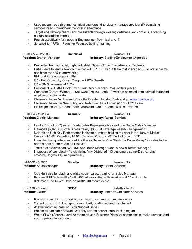 Jeff Prukop - Recruiter Resume