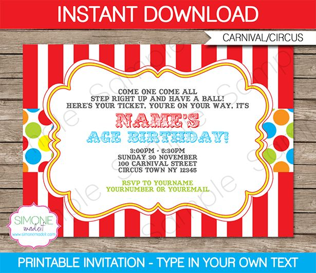 Carnival Invitation Template – colorful | Carnival invitations ...
