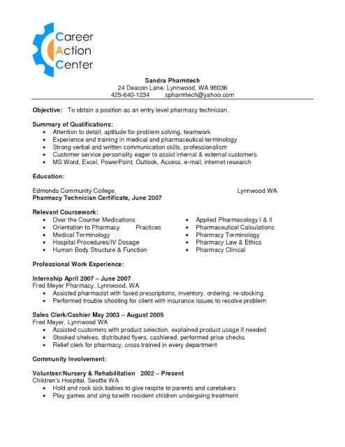 Sample Pharmacy Technician Resume | jennywashere.com