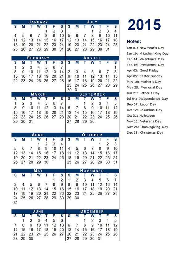 2015 Yearly Calendar Template 03 - Free Printable Templates